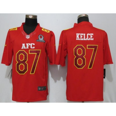 Nike NFL Chiefs 87 Travis Kelce AFC Red 2017 Pro Bowl Game Jersey