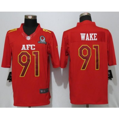 Nike NFL Dolphins 91 Cameron Wake AFC Red 2017 Pro Bowl Game Jersey