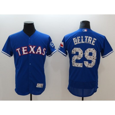 MLB  Rangers 29 Adrian Beltre Royal 2018 Spring Training Flex Base Men Jersey