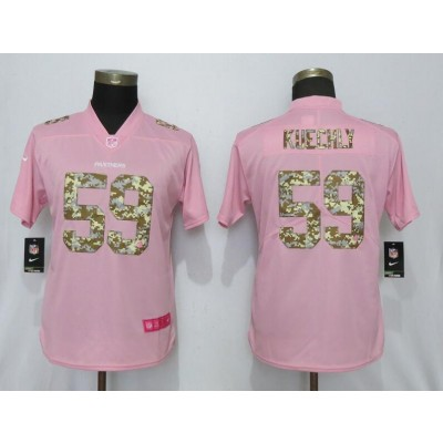 Nike Panthers 59 Luke Kuechly Pink Camo Fashion Limited Women Jersey