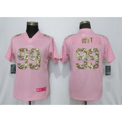 Nike Texans 99 J.J. Watt Pink Camo Fashion Limited Women Jersey