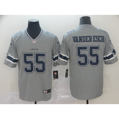 Nike Cowboys 55 Leighton Vander Esch Grey Inverted Legend Men Jersey