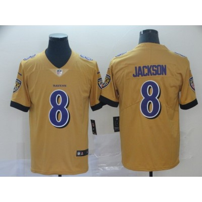 Nike Ravens 8 Lamar Jackson Gold Inverted Legend Men Jersey