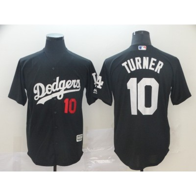 MLB Dodgers 10 Justin Turner Black Turn Back Men Jersey