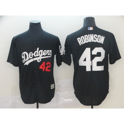 MLB Dodgers 42 Jackie Robinson Black Turn Back Men Jersey