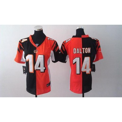 Nike Bengals No.14 Andy Dalton Orange/Black Female's Embroidered Football Elite Split Jersey