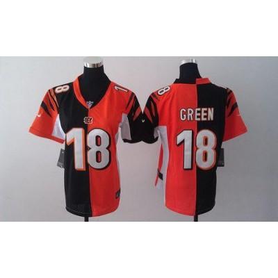 Nike Bengals No.18 A.J. Green Orange/Black Female's Embroidered Football Elite Split Jersey