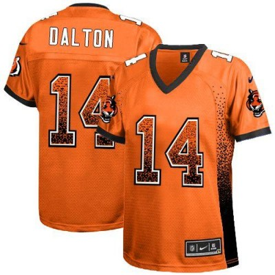 Nike Bengals No.14 Andy Dalton Orange Alternate Women's Football Inwrought Elite Drift Fashion Jersey