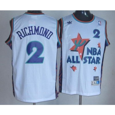 NBA Kings 2 Mitch Richmond White 1995 All Star Throwback Men Jersey