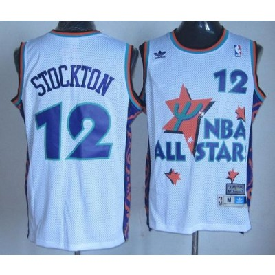 NBA Jazz 12 John Stockton White 1995 All Star Throwback Men Jersey