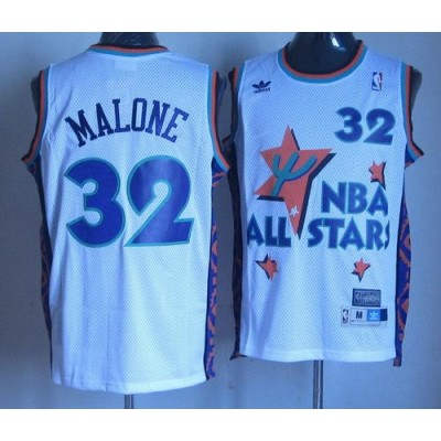 NBA Jazz 32 Karl Malone White 1995 All Star Throwback Men Jersey