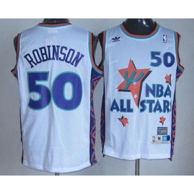 NBA Spurs 50 David Robinson White 1995 All Star Throwback Men Jersey