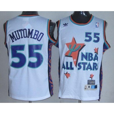 NBA Nuggets 55 Dikembe Mutombo White 1995 All Star Throwback Men Jersey