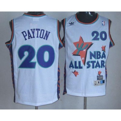 NBA Supersonics 20 Gary Payton White 1995 All Star Throwback Men Jersey