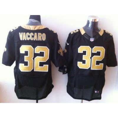 Nike New Orleans Saints No.32 Kenny Vaccaro Black Embroidered Elite Jersey