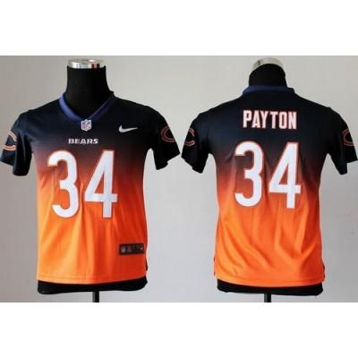 Bears No.34 Walter Payton Navy Blue Orange Youth Stitched Football Fadeaway Elite Jersey Order