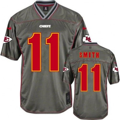 Nike Chiefs #11 Alex Smith Grey Kid Stitched NFL Elite Vapor Jersey