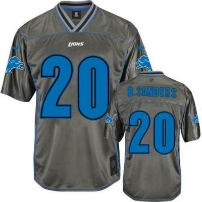 Nike Lions #20 Barry Sanders Grey Kid Stitched NFL Elite Vapor Jersey