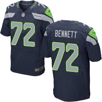 Nike Seattle Seahawks No.72 Michael Bennett Steel Blue Embroidered Elite Jersey