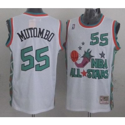 NBA Nuggets 55 Dikembe Mutombo White 1996 All Star Throwback Mitchell And Ness Men Jersey