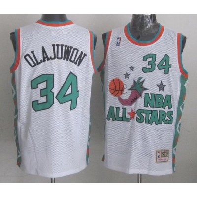 NBA Rockets 34 Hakeem Olajuwon White 1996 All Star Throwback Mitchell And Ness Men Jersey