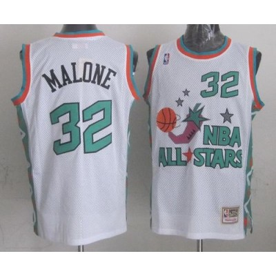 NBA Jazz 32 Karl Malone White 1996 All Star Throwback Mitchell And Ness Men Jersey
