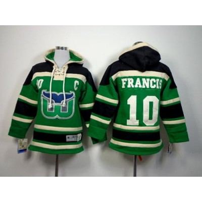 NHL Whalers 10 Ron Francis Green Youth Sawyer Hooded Sweatshirt