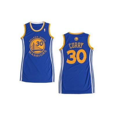 NBA Warriors 30 Stephen Curry Blue Print Dress jersey