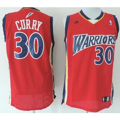NBA Warriors 30 Stephen Curry Red Throwback Men Jersey