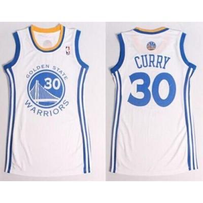 NBA Warriors 30 Stephen Curry White Print Dress Jersey