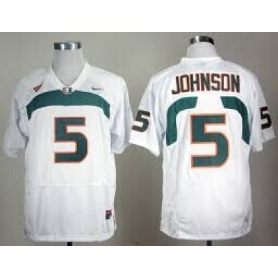 NCAA Miami Hurricanes 5 Andre Johnson White Men Jersey