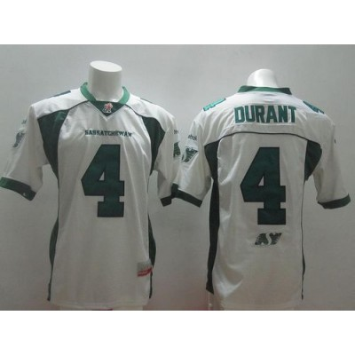 Saskatchewan Roughriders No.4 Darian Durant White Men's Football Jersey