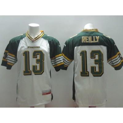 Edmonton Eskimos No.13 Mike Reilly White Male Football Jersey