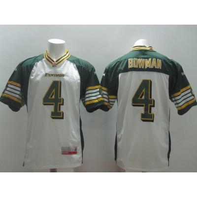 Edmonton Eskimos No.4 Adarius Bowman White Male Football Jersey