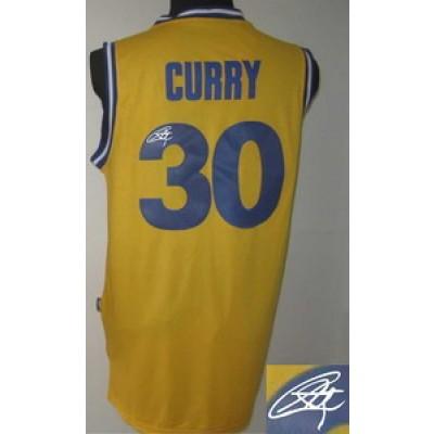 NBA Warriors 30 Stephen Curry Gold Autographed Men Jersey