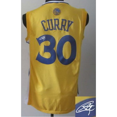 NBA Warriors 30 Stephen Curry Yellow Autographed Men Jersey