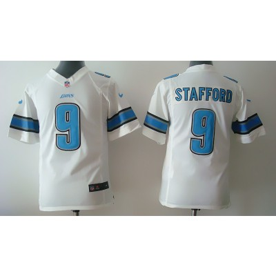 Detroit Lions No.9 Matthew Stafford White Youth Football Jersey