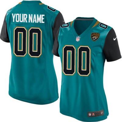 Nike Jacksonville Jaguars Personalized Teal Green Women's Football Elite Jersey