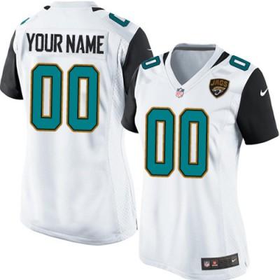 Nike Jacksonville Jaguars Personalized White Women's Football Elite Jersey