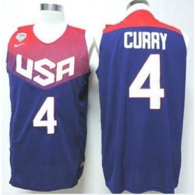 Basketball Team USA 4 Stephen Curry Blue Men Jersey