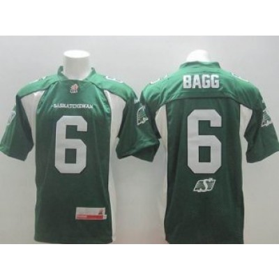Saskatchewan Roughriders No.6 Rob Bagg Green Men's CFL Football Jersey