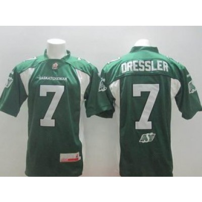 Saskatchewan Roughriders No.7 Weston Dressler Green Men's CFL Football Jersey
