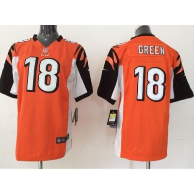Nike Bengals 18 A.J. Green Orange Alternate Youth Stitched NFL Elite Jersey