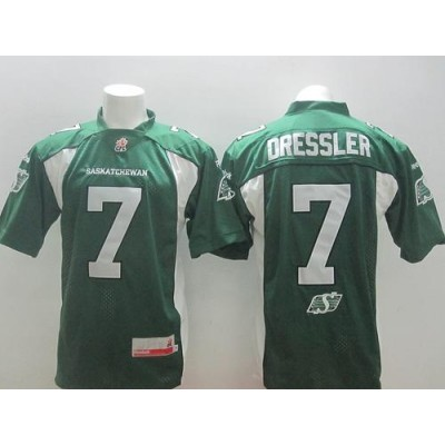 Roughriders 7 Weston Dressler Green Stitched CFL Jersey