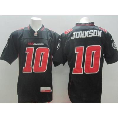 Redblacks 10 Kierrie Johnson Black Stitched CFL Jersey