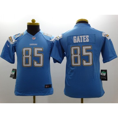 Nike Chargers 85 Antonio Gates Electric Blue Alternate Youth Stitched NFL New Limited Jersey