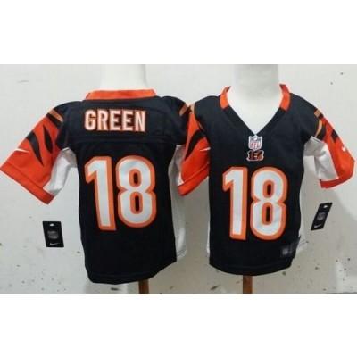 Toddler Nike Bengals 18 A.J. Green Black Stitched NFL Elite Jersey