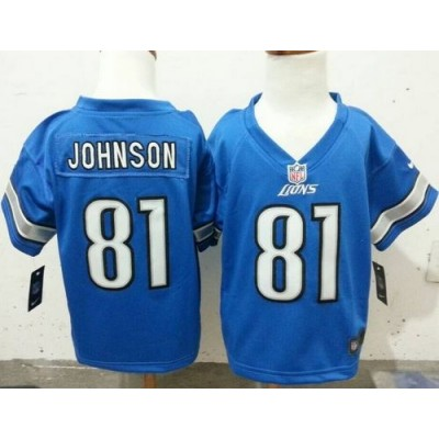 Toddler Nike Lions 81 Calvin Johnson Blue Stitched NFL Elite Jersey