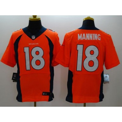 Nike Broncos 18 Peyton Manning Orange Team Color Men Stitched NFL New Elite Jersey