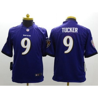 Nike Ravens 9 Justin Tucker Purple Team Color Youth Stitched NFL New Limited Jersey